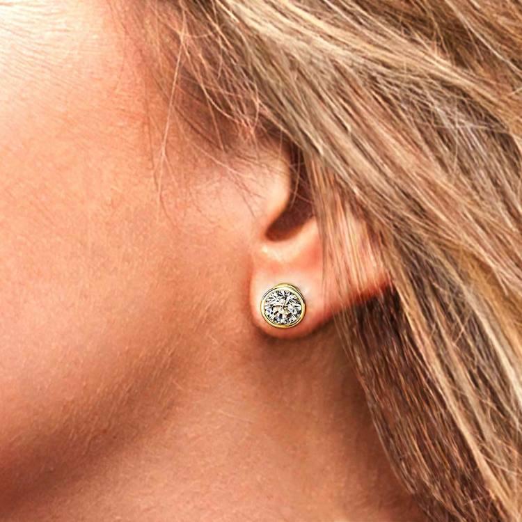 Bezel Diamond Stud Earrings in 14K Yellow Gold (4 ctw) | 04