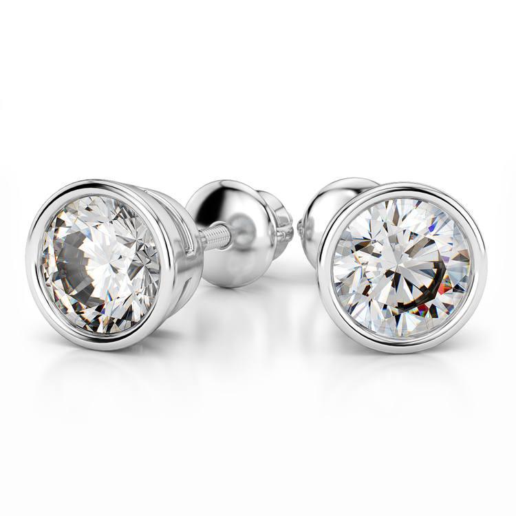 Bezel Earring Settings in White Gold | 04