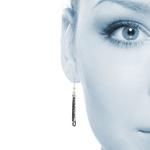 Black Bead Fringe Dangle Earrings in Silver   Thumbnail 01