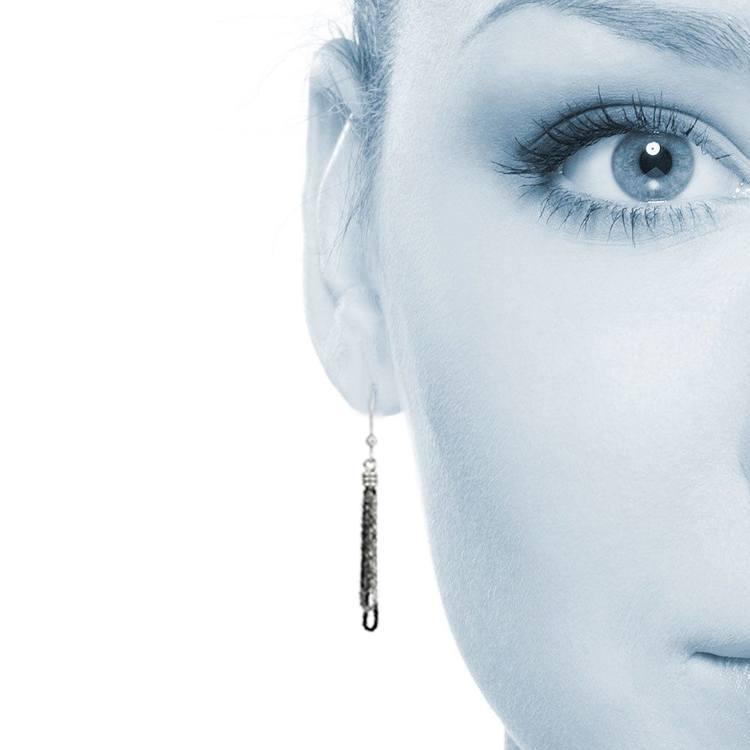 Black Bead Fringe Dangle Earrings in Silver   04