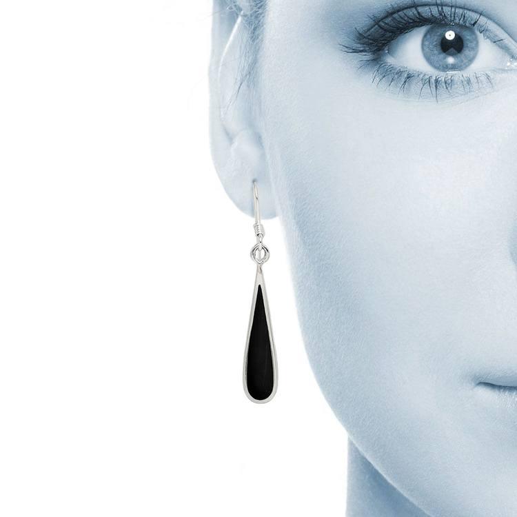 Black Stone Droplet Earrings in Silver   04