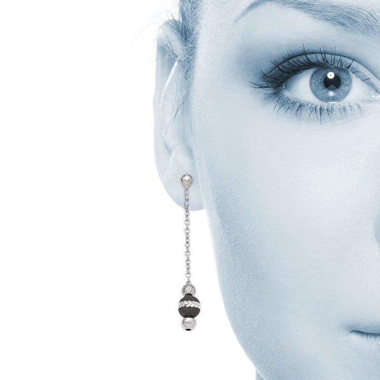 Blackened Bead Dangle Earrings in Silver | 04