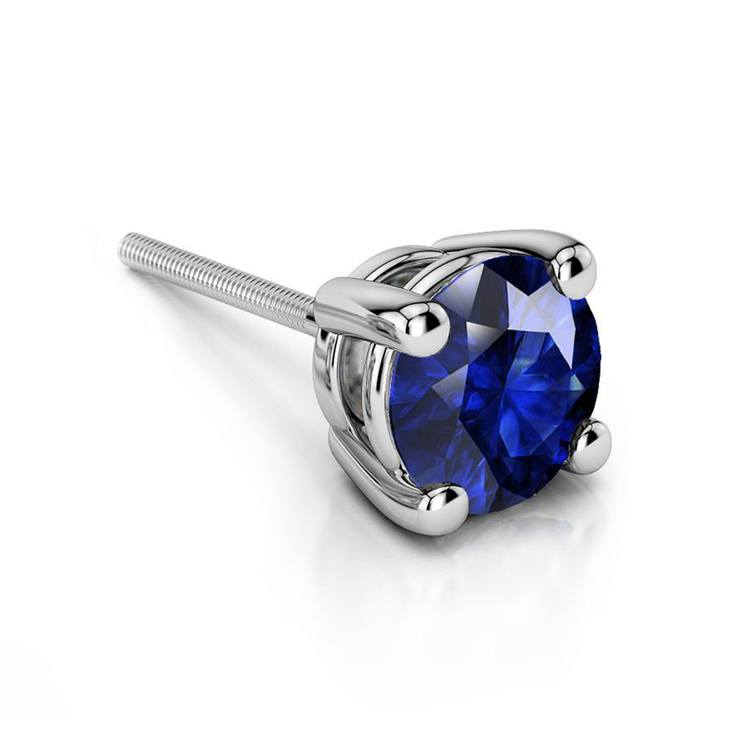 Blue Sapphire Round Gemstone Single Stud Earring In White Gold (4.5 Mm) | 01
