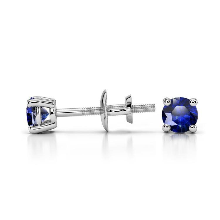 Blue Sapphire Round Gemstone Stud Earrings in White Gold (3.2 mm) | 03