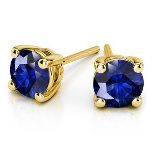 Blue Sapphire Round Gemstone Stud Earrings in Yellow Gold (3.2 mm)