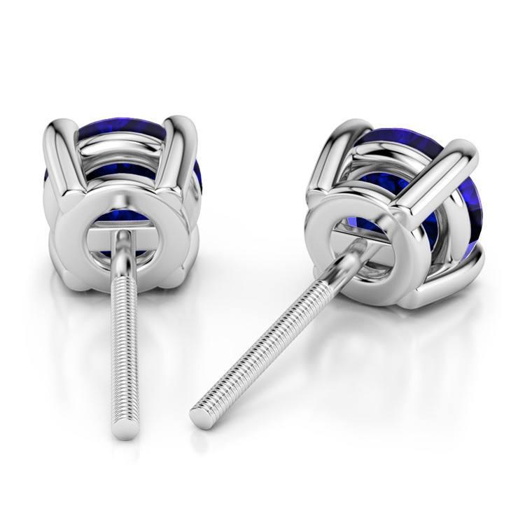 Blue Sapphire Round Gemstone Stud Earrings in Platinum (3.4 mm) | 02