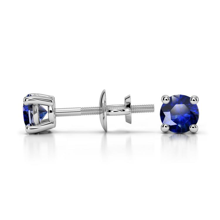Blue Sapphire Round Gemstone Stud Earrings in White Gold (3.4 mm) | 03
