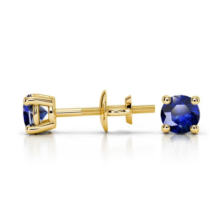 Blue Sapphire Round Gemstone Stud Earrings in Yellow Gold (3.4 mm) | 03