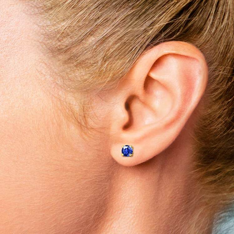 Blue Sapphire Round Gemstone Stud Earrings in Yellow Gold (3.4 mm) | 04
