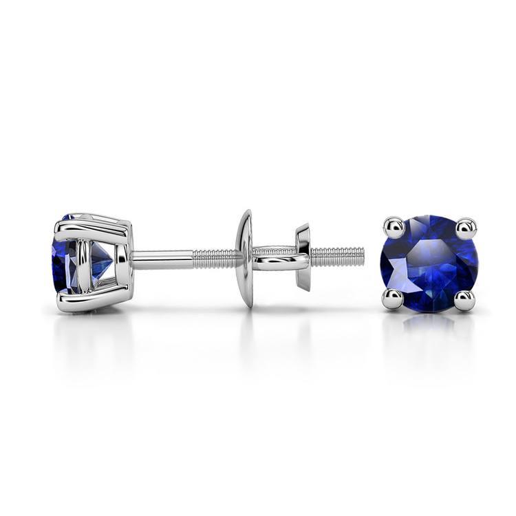 Blue Sapphire Round Gemstone Stud Earrings in Platinum (4.1 mm) | 03