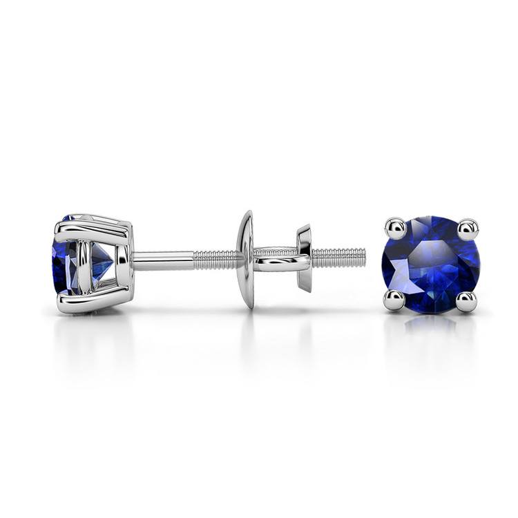 Blue Sapphire Round Gemstone Stud Earrings in White Gold (4.1 mm) | 03
