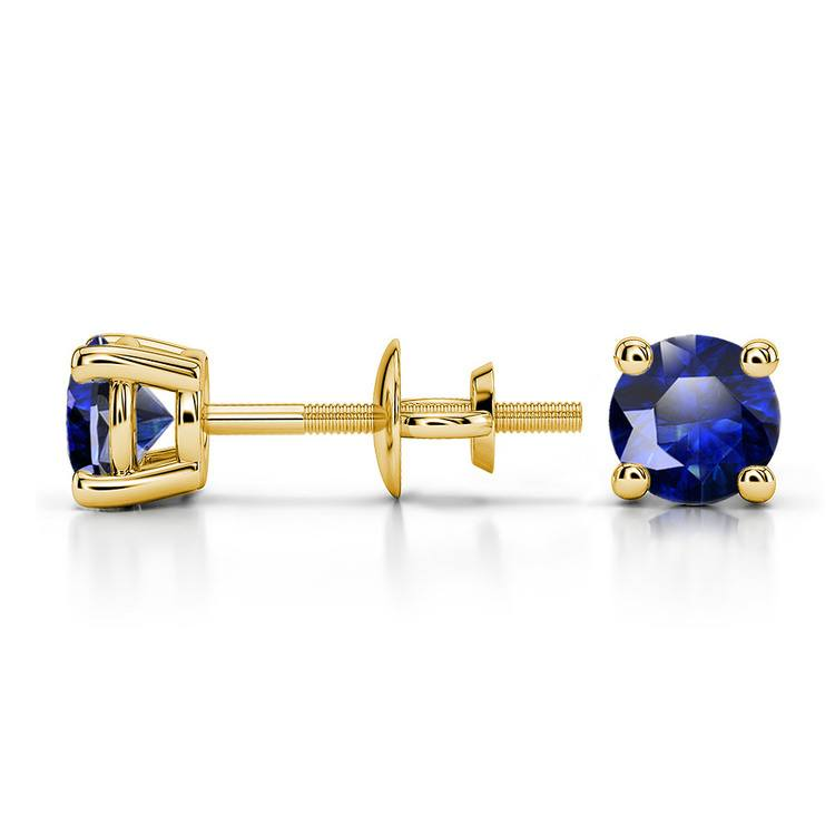 Blue Sapphire Round Gemstone Stud Earrings in Yellow Gold (4.5 mm) | 03