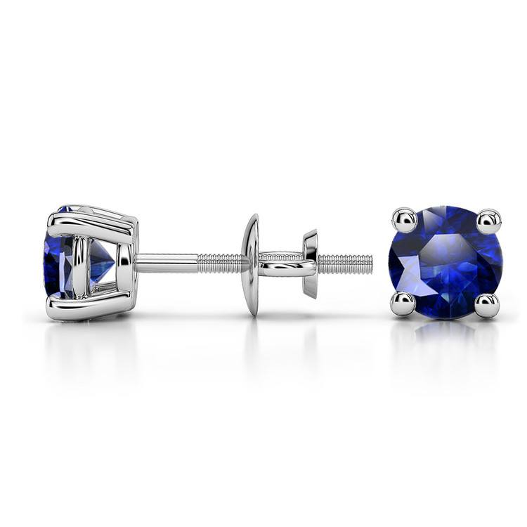 Blue Sapphire Round Gemstone Stud Earrings in White Gold (5.1 mm) | 03