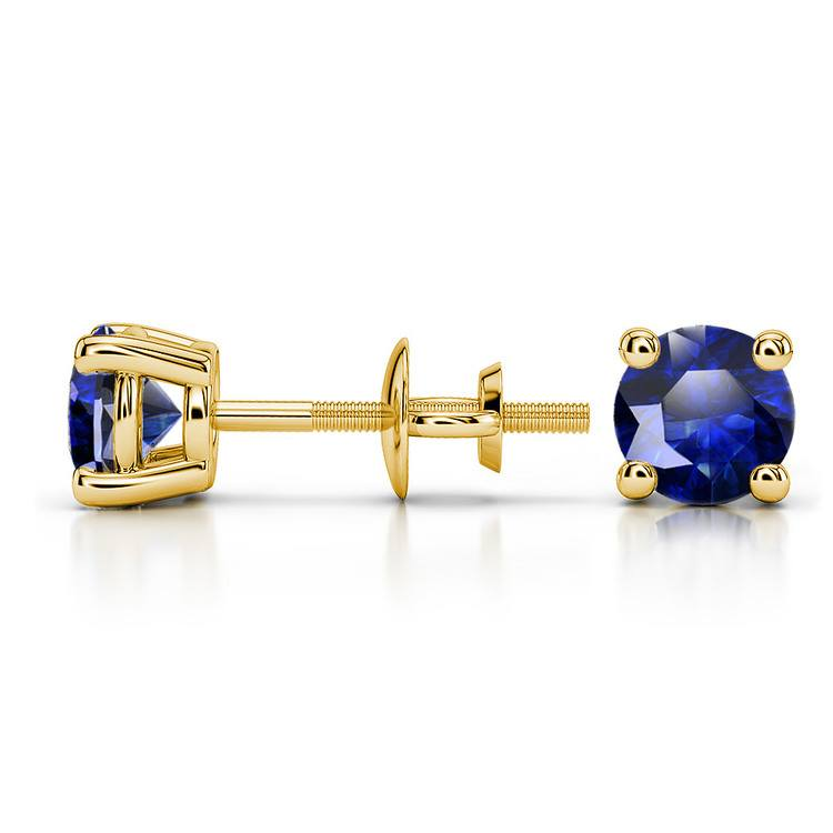 Blue Sapphire Round Gemstone Stud Earrings in Yellow Gold (5.1 mm) | 03