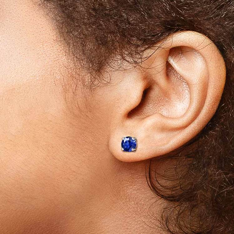 Blue Sapphire Round Gemstone Stud Earrings in White Gold (5.9 mm) | 04