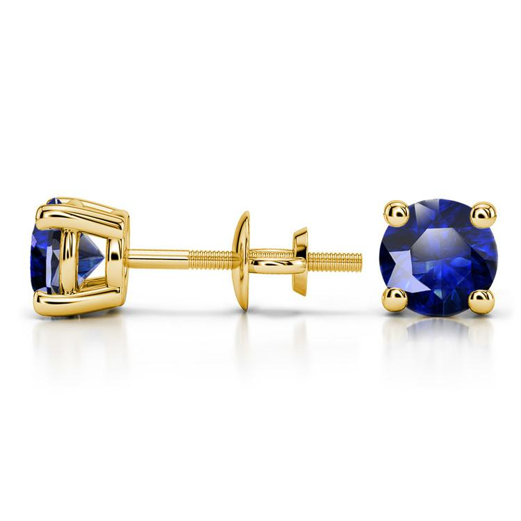 Blue Sapphire Round Gemstone Stud Earrings in Yellow Gold (5.9 mm) | 03