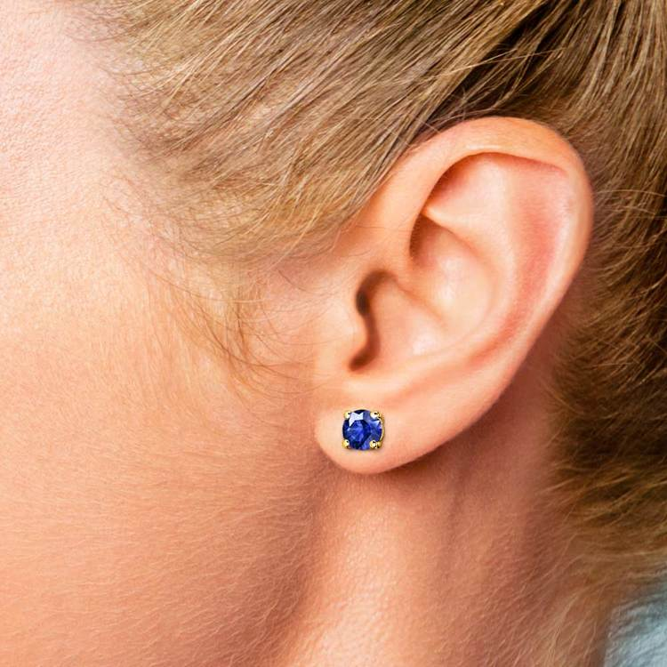 Blue Sapphire Round Gemstone Stud Earrings in Yellow Gold (5.9 mm)   04