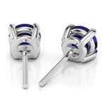 Blue Sapphire Round Gemstone Stud Earrings in Platinum (6.4 mm) | Thumbnail 01
