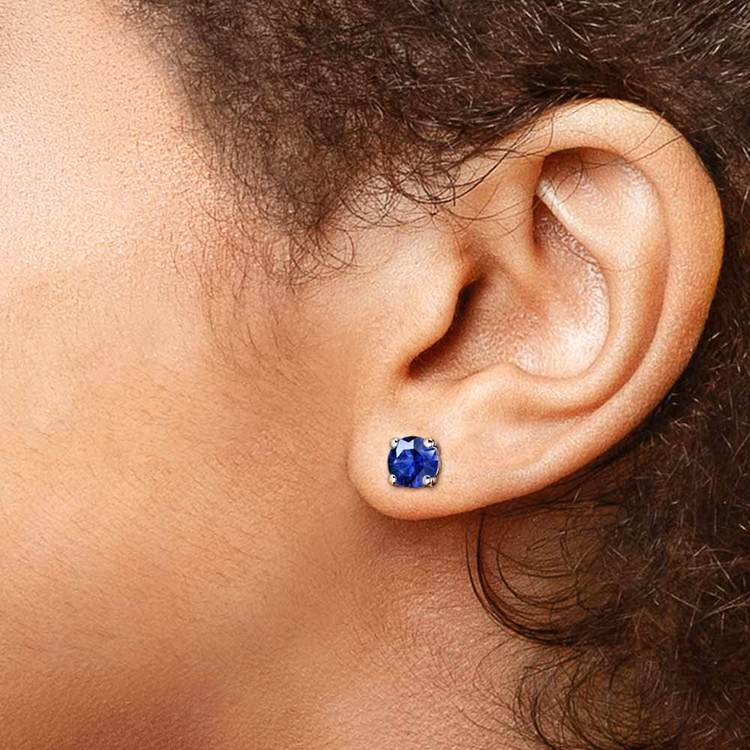 Blue Sapphire Round Gemstone Stud Earrings in White Gold (6.4 mm) | 04