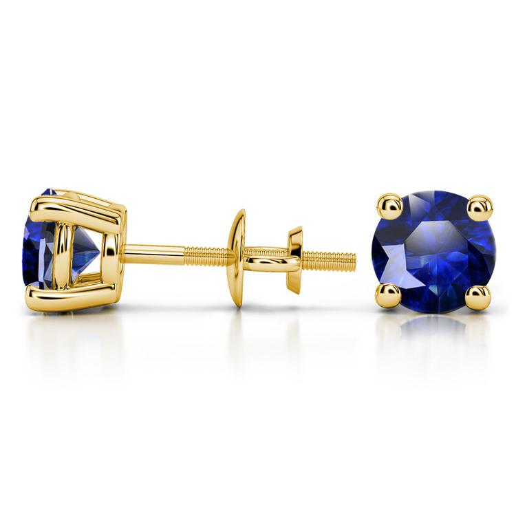 Blue Sapphire Round Gemstone Stud Earrings in Yellow Gold (6.4 mm) | 03