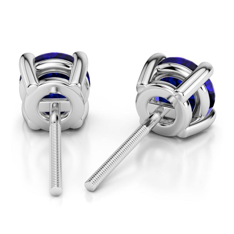 Blue Sapphire Round Gemstone Stud Earrings in Platinum (7.5 mm) | 02