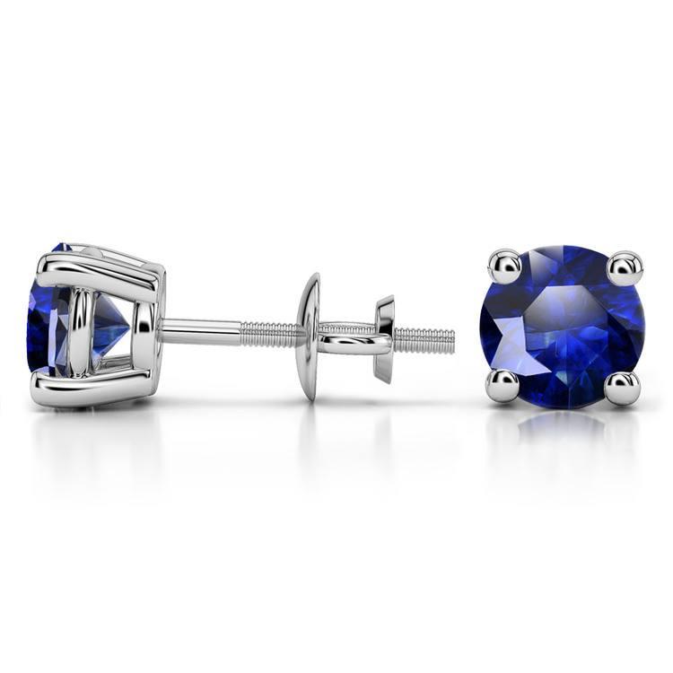 Blue Sapphire Round Gemstone Stud Earrings in Platinum (7.5 mm) | 03