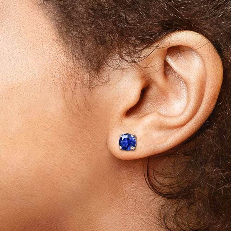 Blue Sapphire Round Gemstone Stud Earrings in White Gold (7.5 mm) | 04