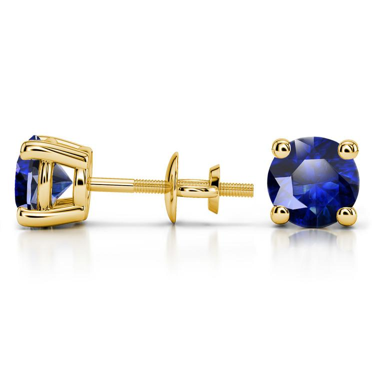 Blue Sapphire Round Gemstone Stud Earrings in Yellow Gold (7.5 mm) | 03