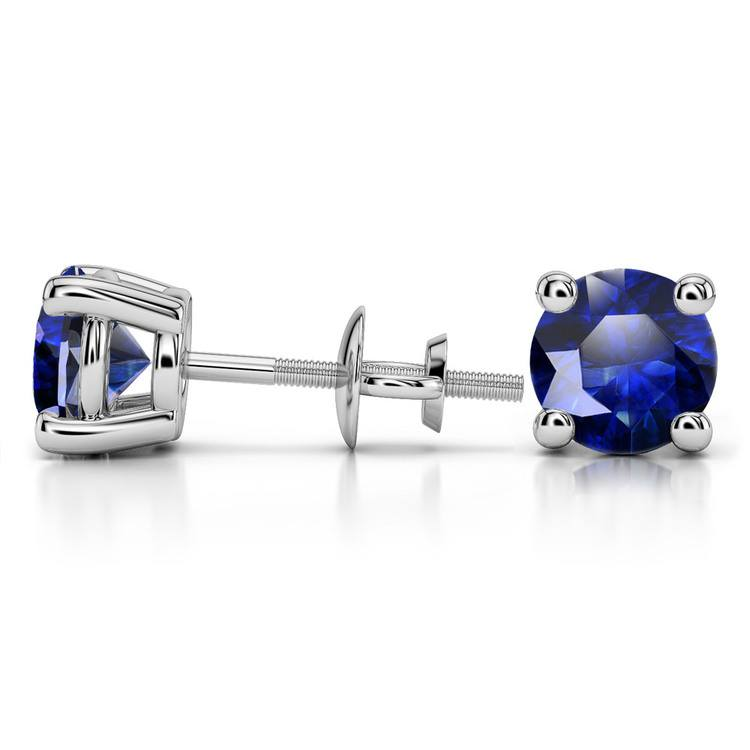 Blue Sapphire Round Gemstone Stud Earrings in White Gold (8.1 mm) | 03