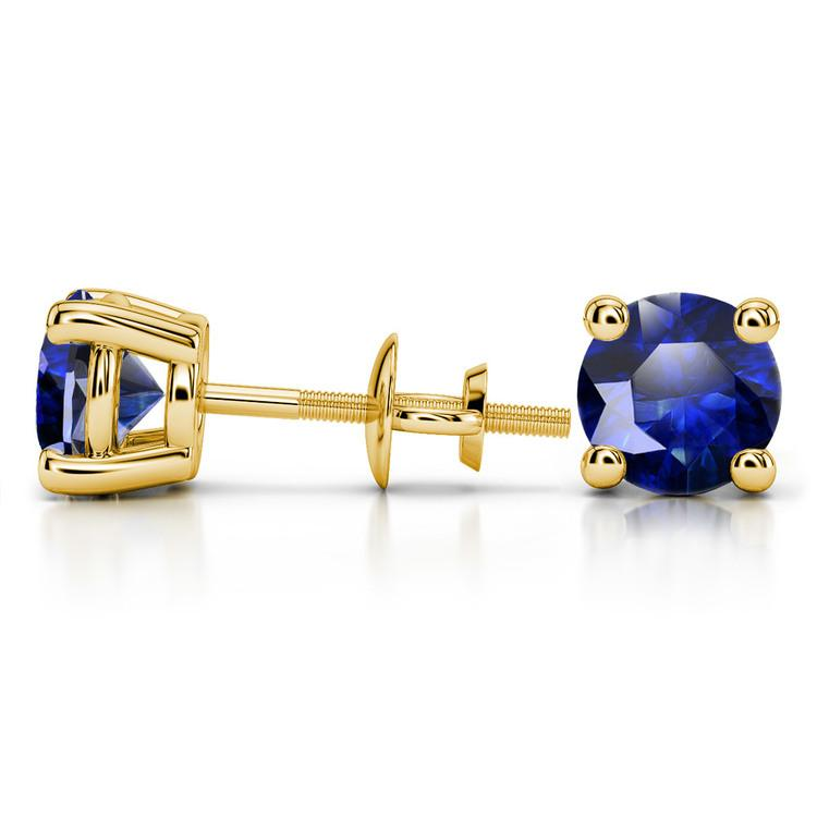 Blue Sapphire Round Gemstone Stud Earrings in Yellow Gold (8.1 mm) | 03