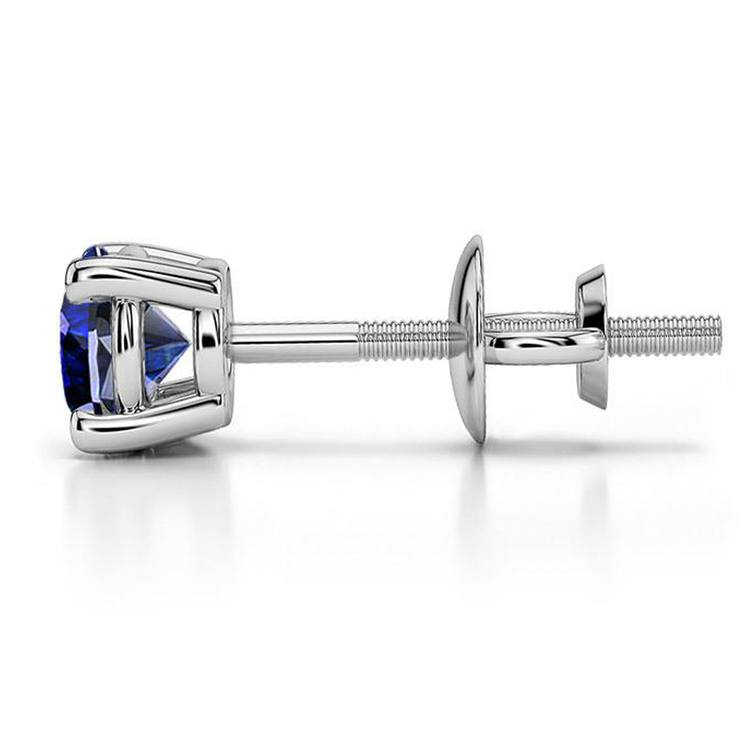 Blue Sapphire Round Gemstone Single Stud Earring In White Gold (6.4 mm) | 03