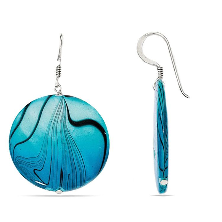 Blue-Toned Mother of Pearl Disc Earrings in Silver | 02