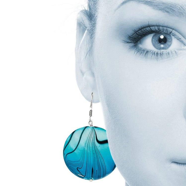 Blue-Toned Mother of Pearl Disc Earrings in Silver | 04