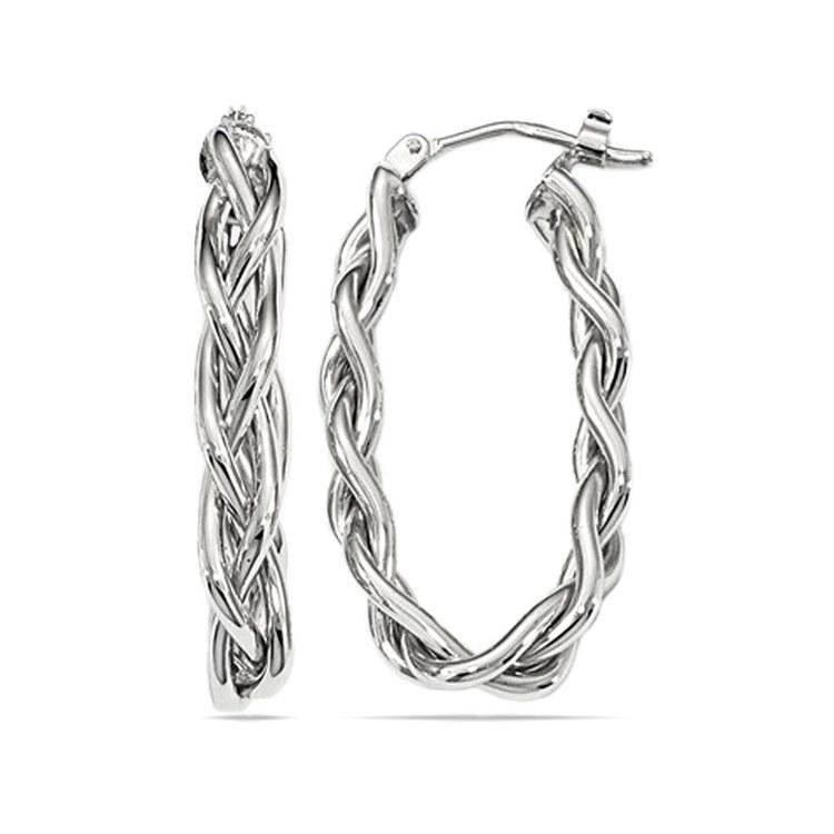 Braided Oval Hoop Earrings in White Gold | 01