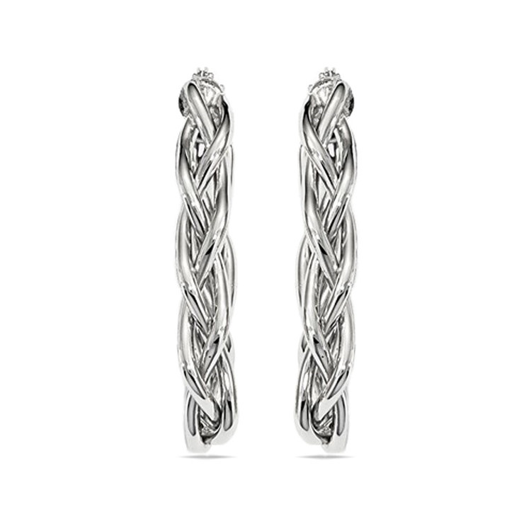 Braided Oval Hoop Earrings in White Gold | 02