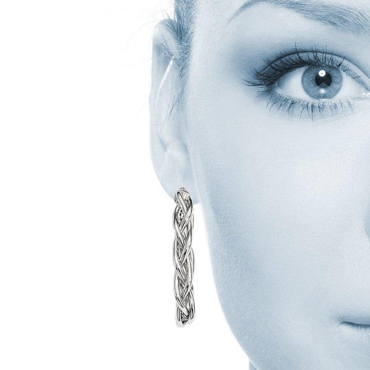 Braided Oval Hoop Earrings in White Gold | 04