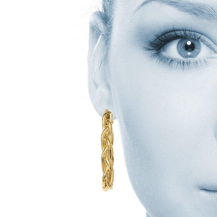Braided Oval Hoop Earrings in Yellow Gold | 04