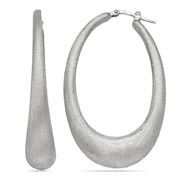 Brushed Teardrop Oval Hoop Earrings in Silver | 01