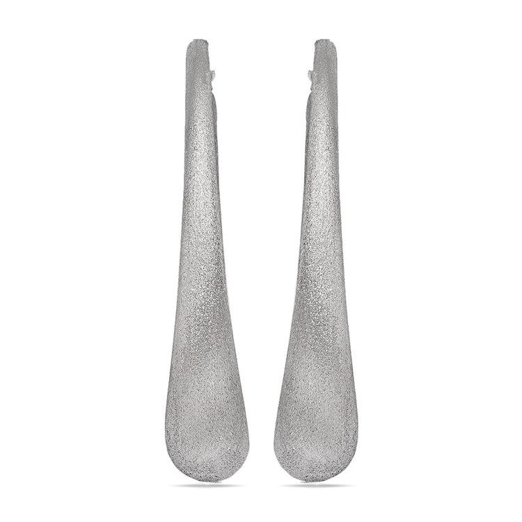 Brushed Teardrop Oval Hoop Earrings in Silver | 02