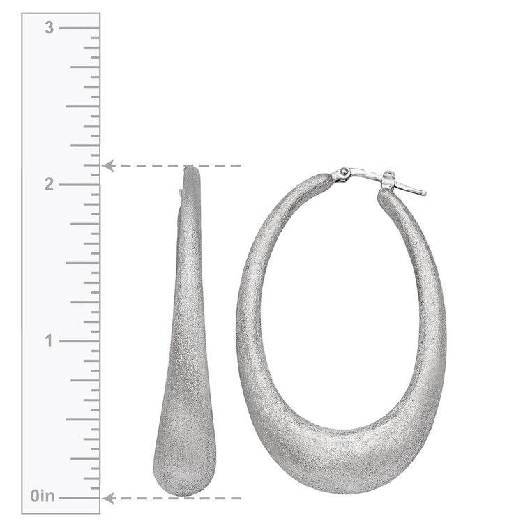 Brushed Teardrop Oval Hoop Earrings in Silver | 03