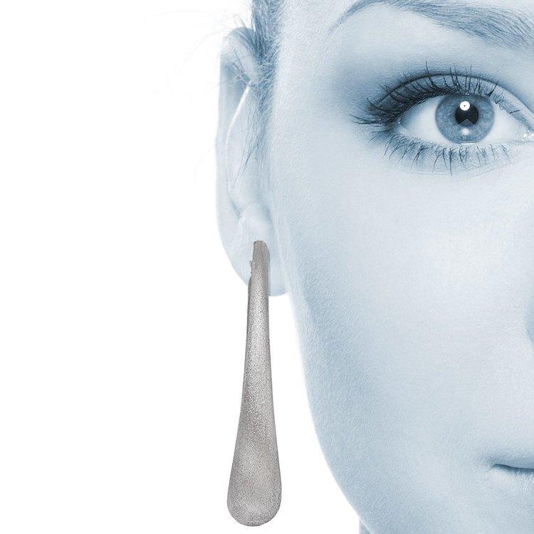 Brushed Teardrop Oval Hoop Earrings in Silver | 04