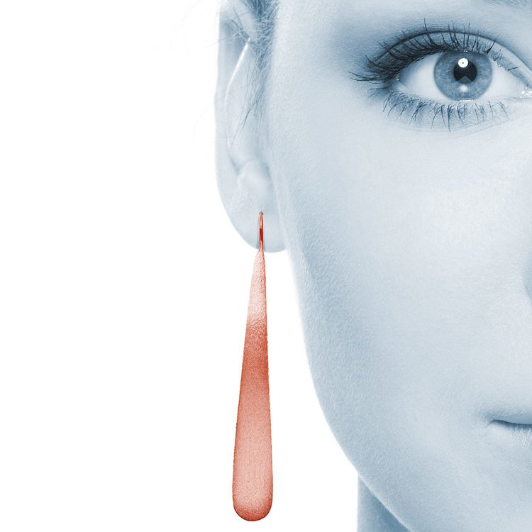 Brushed Teardrop Threader Earrings with Rose Finish in Silver | 04