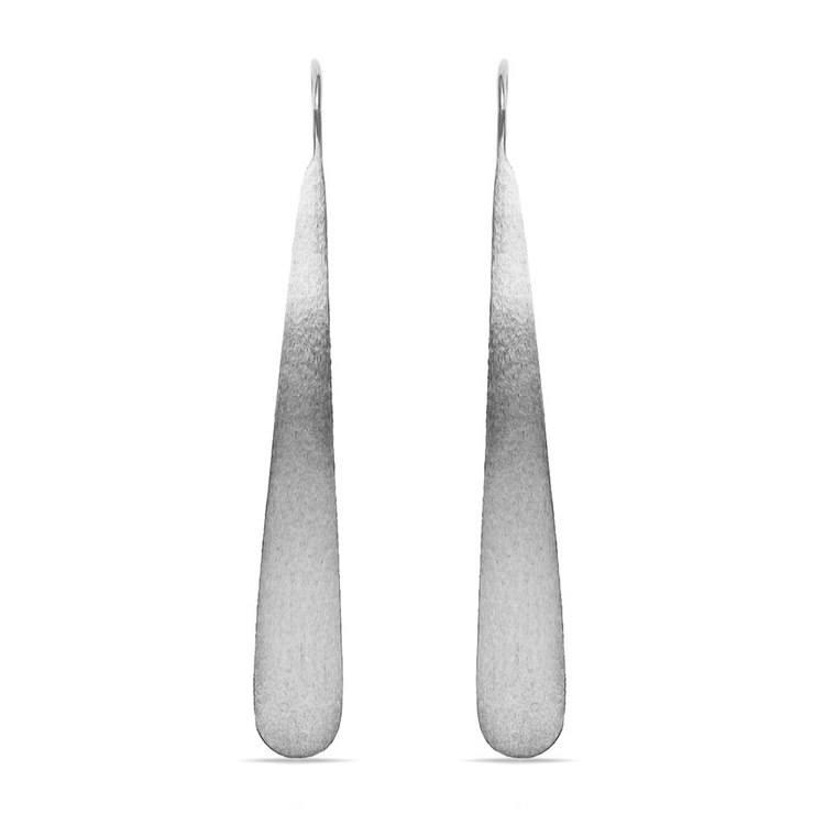 Brushed Teardrop Threader Earrings in Silver | 02