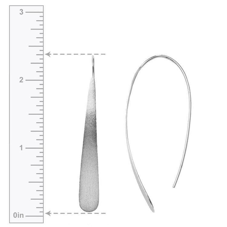 Brushed Teardrop Threader Earrings in Silver | 03