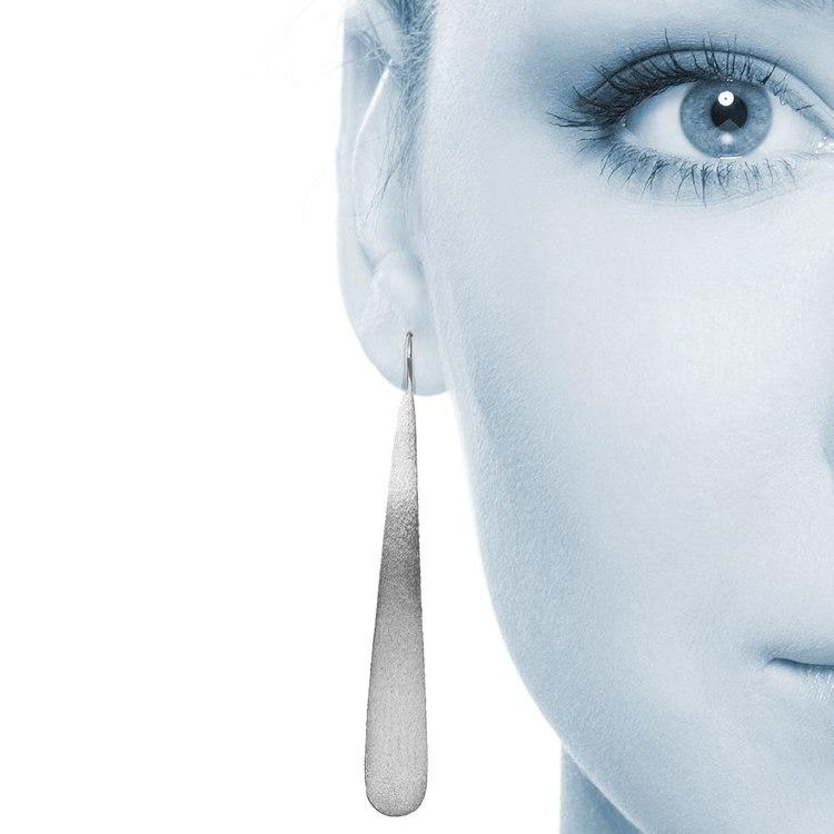 Brushed Teardrop Threader Earrings in Silver | 04