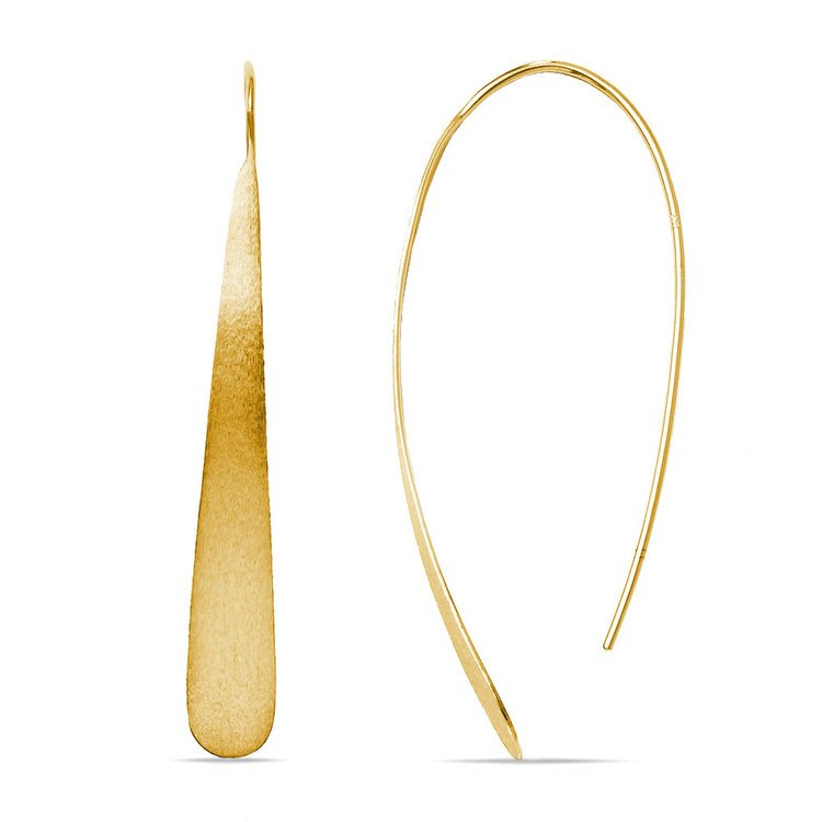 Brushed Teardrop Threader Earrings with Yellow Finish in Silver | 01