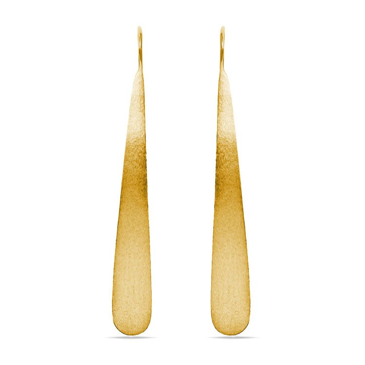 Brushed Teardrop Threader Earrings with Yellow Finish in Silver | 02