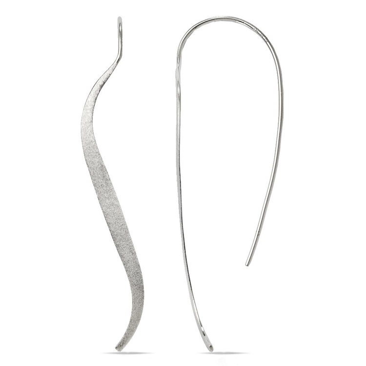 Brushed Wave Threader Earrings in Silver | 01