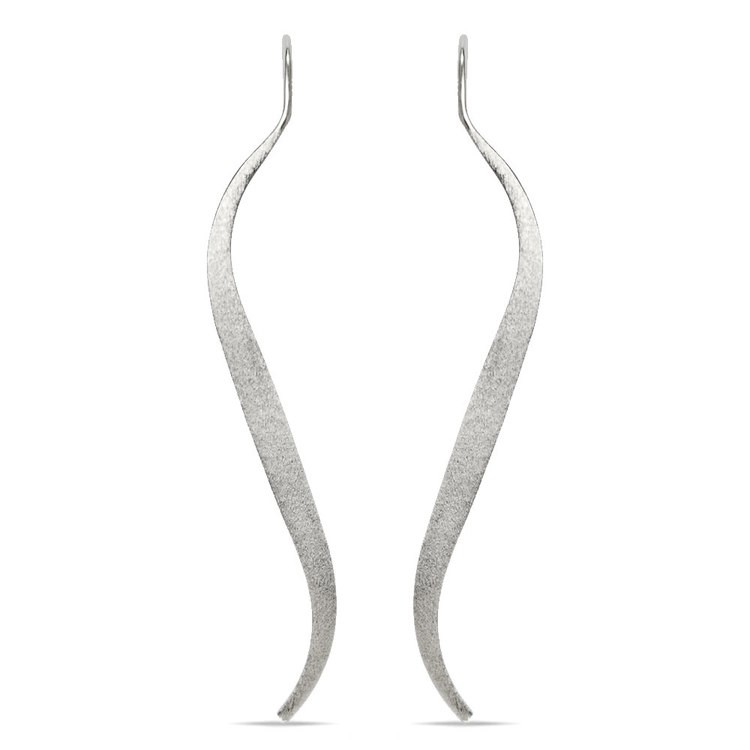 Brushed Wave Threader Earrings in Silver | 02