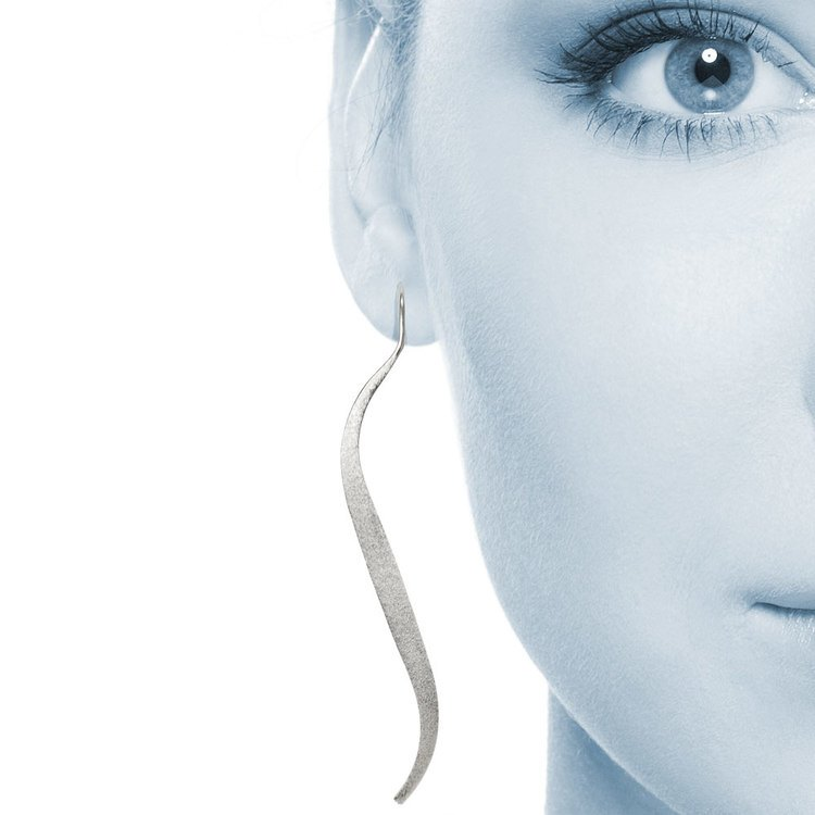 Brushed Wave Threader Earrings in Silver | 04